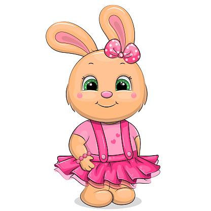 Cute cartoon rabbit in a pink skirt and t-shirt.