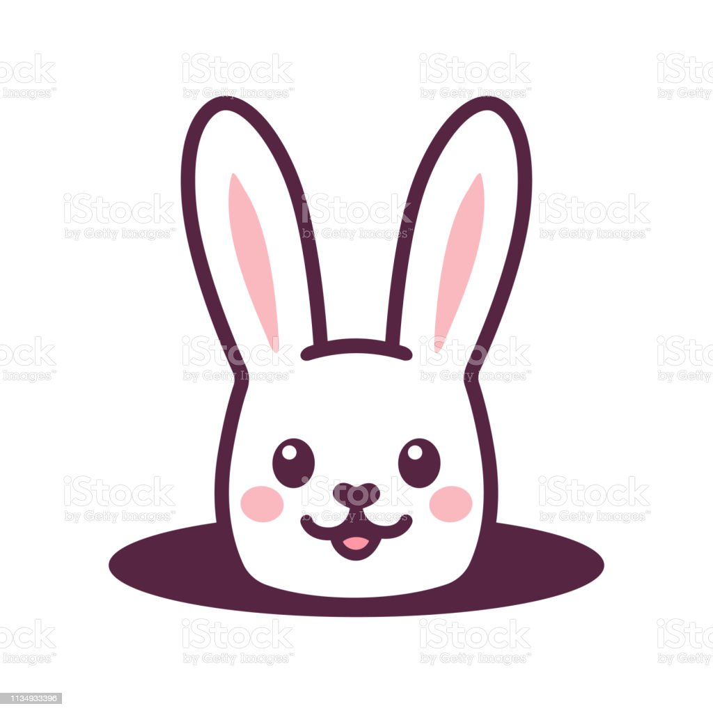 Cute cartoon rabbit looking from hole in ground. Simple Easter bunny...