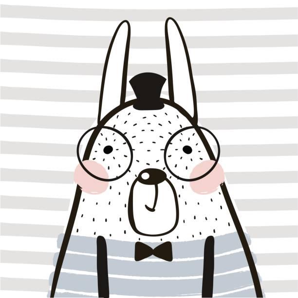 Conejo de dibujos animados lindo de estilo escandinavo. Impresión infantil para guardería, ropa de niños, cartel, postal. Ilustración de vector - ilustración de arte vectorial