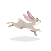Cute cartoon rabbit running. Flat comic style farm animal drawing. Easter spring symbol. Vector illustration with shadow isolated on white background. EPS10 + JPEG preview.