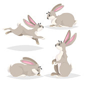 Cute cartoon rabbits set. Different poses farm and wild animals collection. Sitting, running, sleeping and staying poses. Comic style. Vector illustrations. EPS10 + JPEG preview.