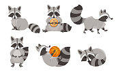 istock Cute cartoon raccoon set. Funny raccoons collection. Emotion little raccoon. Cartoon animal character design. Flat vector illustration isolated on white background 1160412160