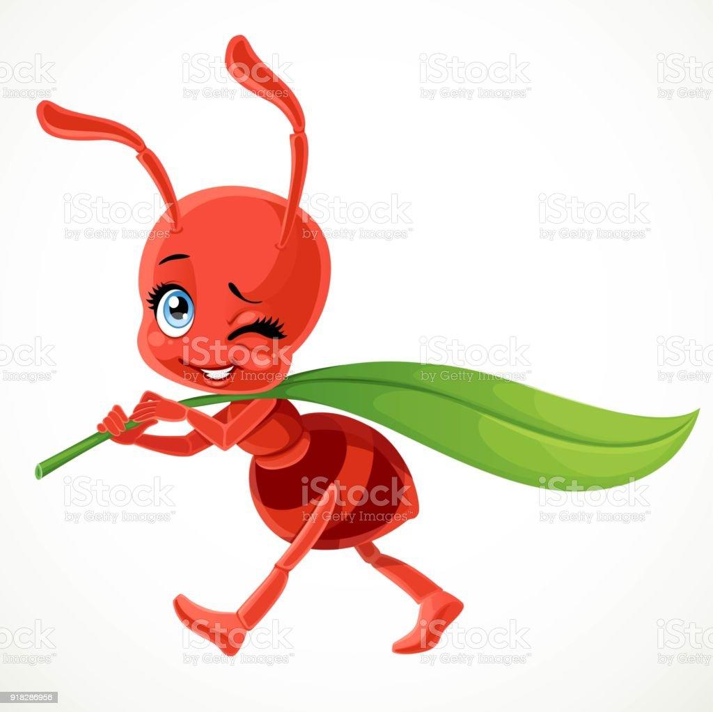 Ilustración de Cute Dibujos Animados Hormiga Roja Lleva Verde Hoja ...