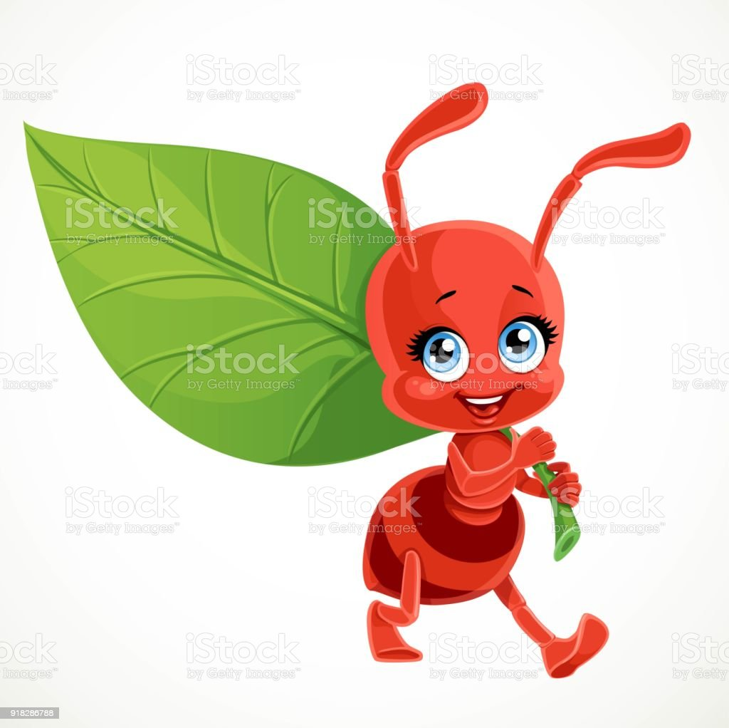 Cute cartoon red ant carries green leaf isolated on a white background vector art illustration