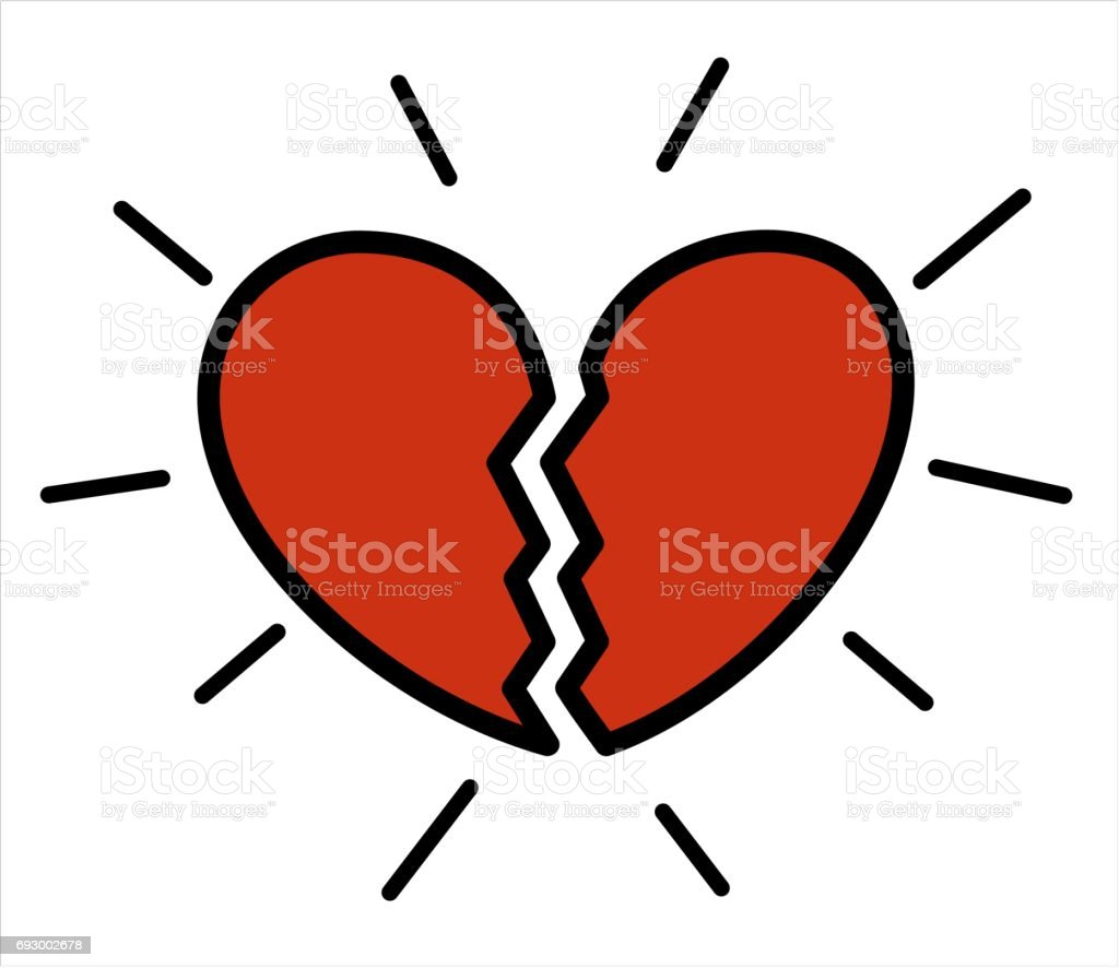 cute cartoon red broken heart isolated on white background vector illustration vector art illustration