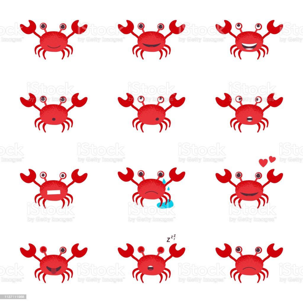 Cute Cartoon Red Crab Drawing Crab Character Vector