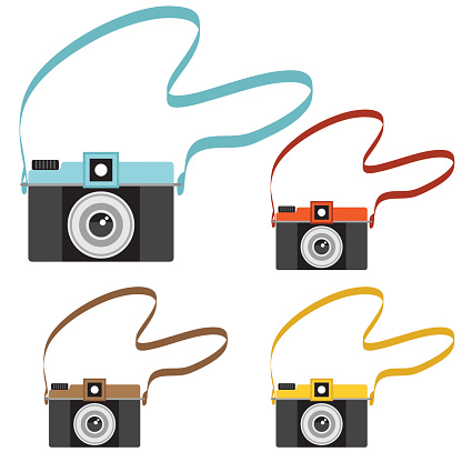 Set of cute little retro styled cameras with carry straps. Simplistic cartoon old fashioned cameras. Assorted colors.