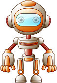 Vector illustration of Cute cartoon robot isolated on white background
