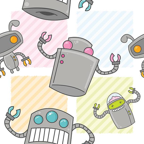 Cute Cartoon Robot Seamless Pattern vector art illustration