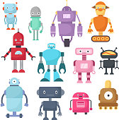 Cute cartoon robots, android and spaceman cyborg isolated vector set