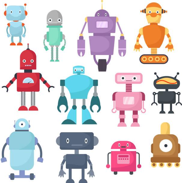 ilustraciones, imágenes clip art, dibujos animados e iconos de stock de robots de dibujos animados, android y astronauta cyborg aislado conjunto de vectores - robot