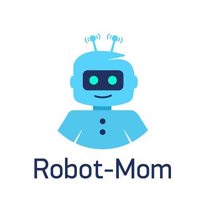 Cute cartoon robots. Sign Robot head, avatar or chat bot for website.