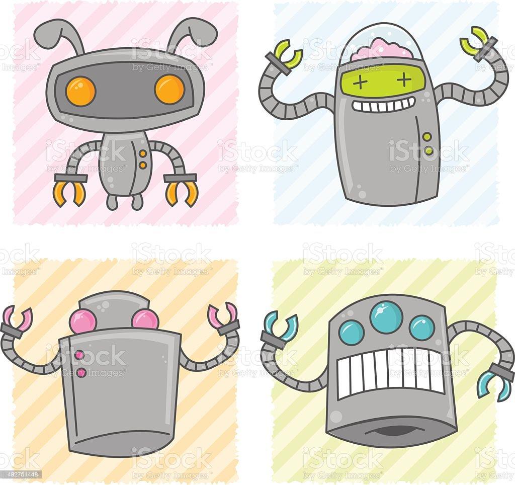 Cute Cartoon Robots vector art illustration