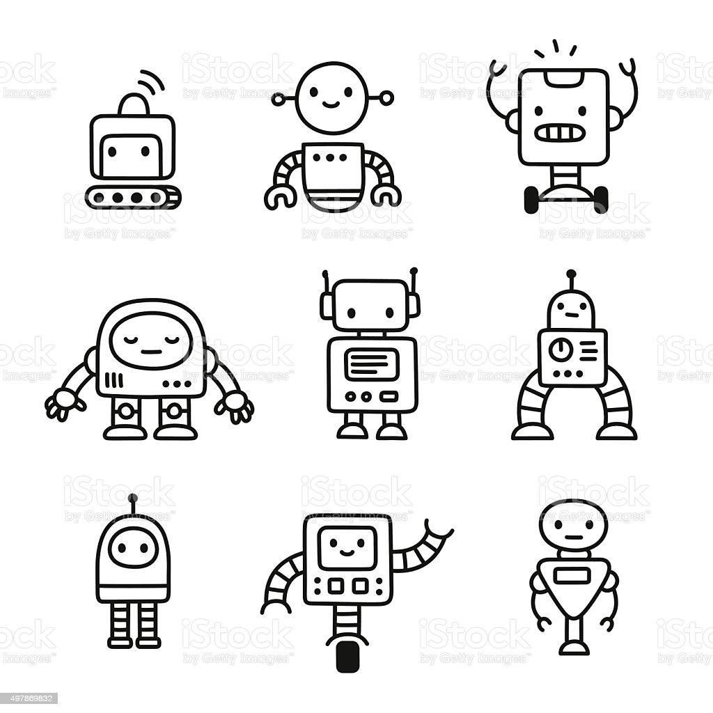 Cute cartoon robots vector art illustration