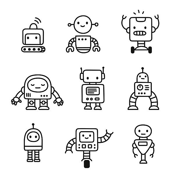 cute cartoon robots - robotics stock illustrations, clip art, cartoons, & icons