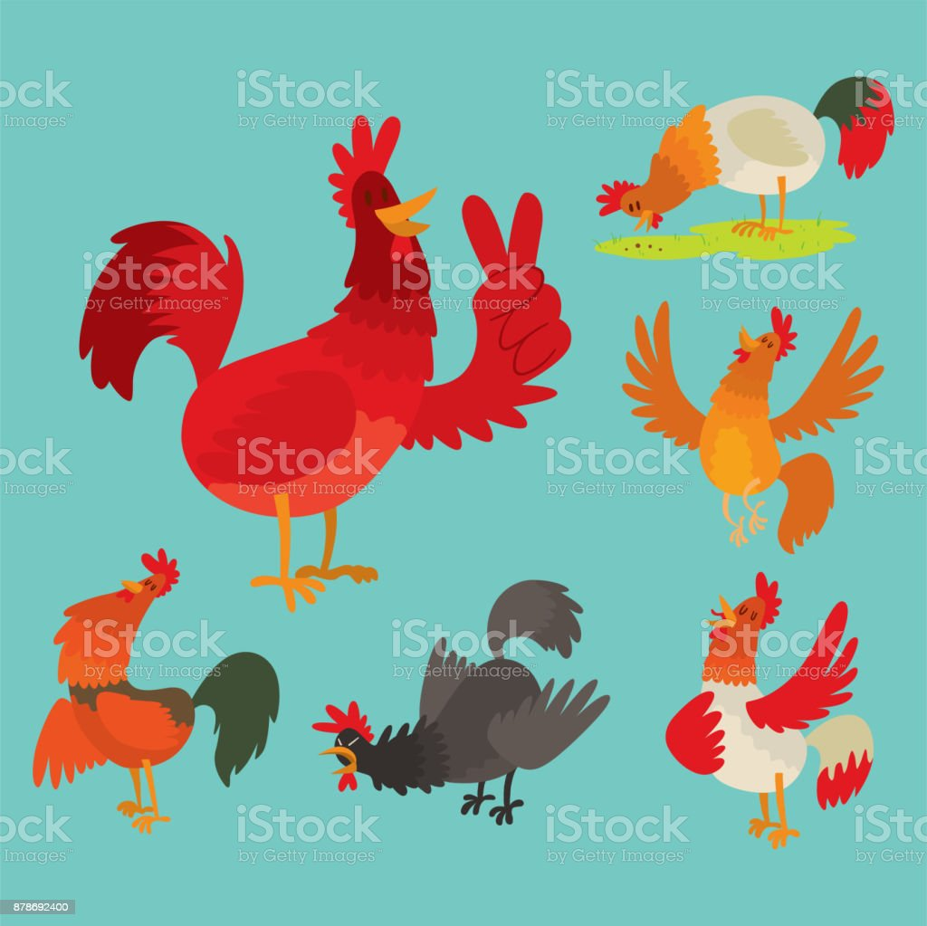 Cute cartoon rooster illustration chicken farm animal agriculture...