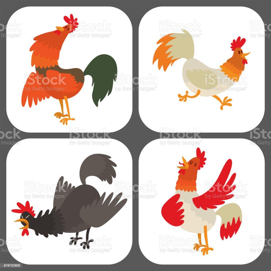 かわいい漫画のオンドリ ベクトル図鶏ファーム動物の農業国内鳥の