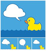 Cute cartoon rubber duck with cloud speech bubble