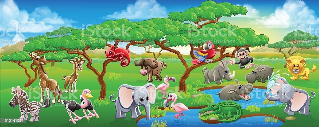 Cute Cartoon Safari Animal Scene Landscape vector art illustration