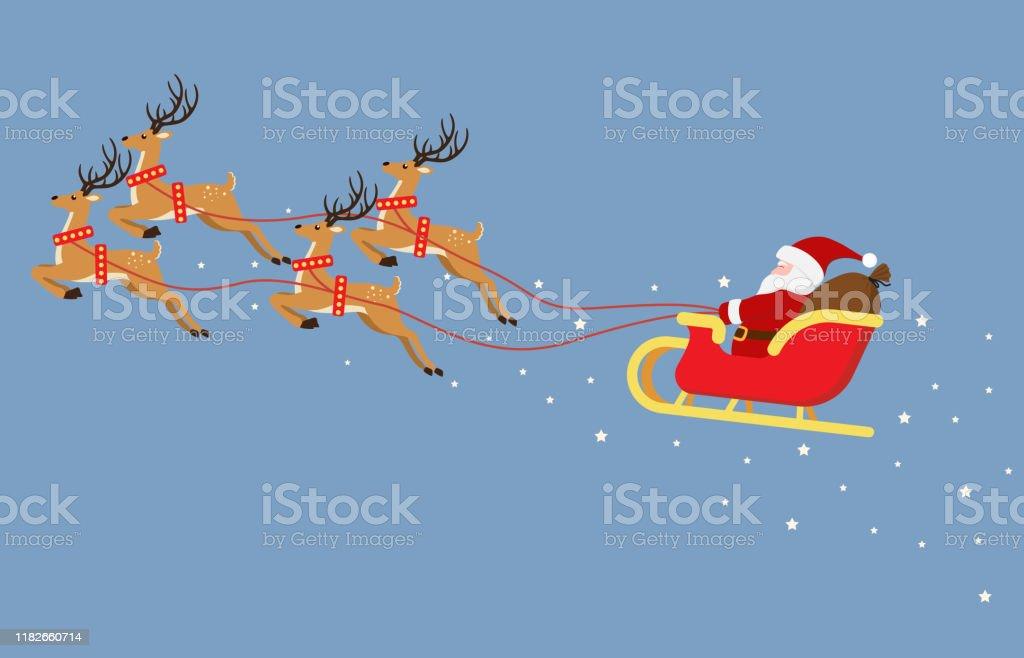 Carino cartone animato Babbo Natale che vola su una slitta con renne isolate su sfondo blu - Illustrazione vettoriale - arte vettoriale royalty-free di Adulto