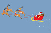 istock Cute cartoon Santa Claus flying on a sleigh with reindeers isolated on blue background - Vector illustration 1182660714