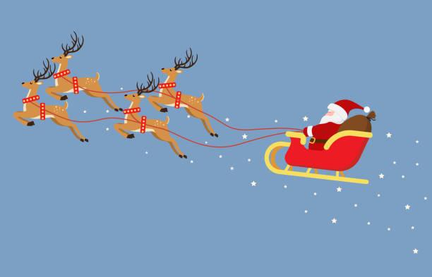 süße cartoon santa claus fliegen auf einem schlitten mit renandmädchen isoliert auf blauem hintergrund - vektor-illustration - santa stock-grafiken, -clipart, -cartoons und -symbole