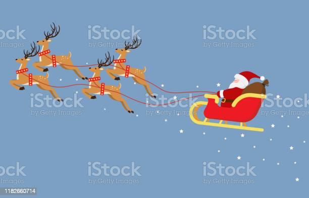 Carino Cartone Animato Babbo Natale Che Vola Su Una Slitta Con Renne Isolate Su Sfondo Blu Illustrazione Vettoriale - Immagini vettoriali stock e altre immagini di Adulto