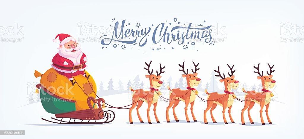 Cute Cartoon Santa Claus Riding Reindeer Sleigh Stock Vektor Art Und