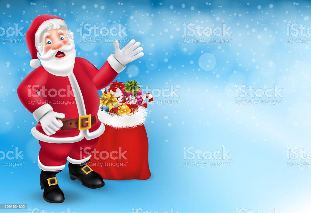 Cute Cartoon Santa Claus Dire Bonjour En Fond Bleu Abstrait