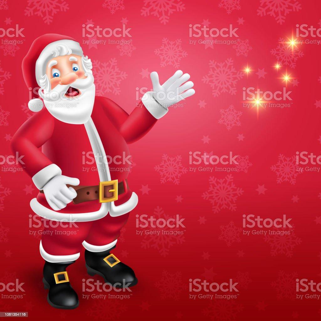 Cute Cartoon Santa Claus Dire Bonjour à Fond Rouge Avec
