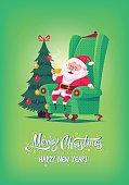 Cute cartoon Santa Claus sitting in chair drinking tea Merry Christmas vector illustration Greeting card poster