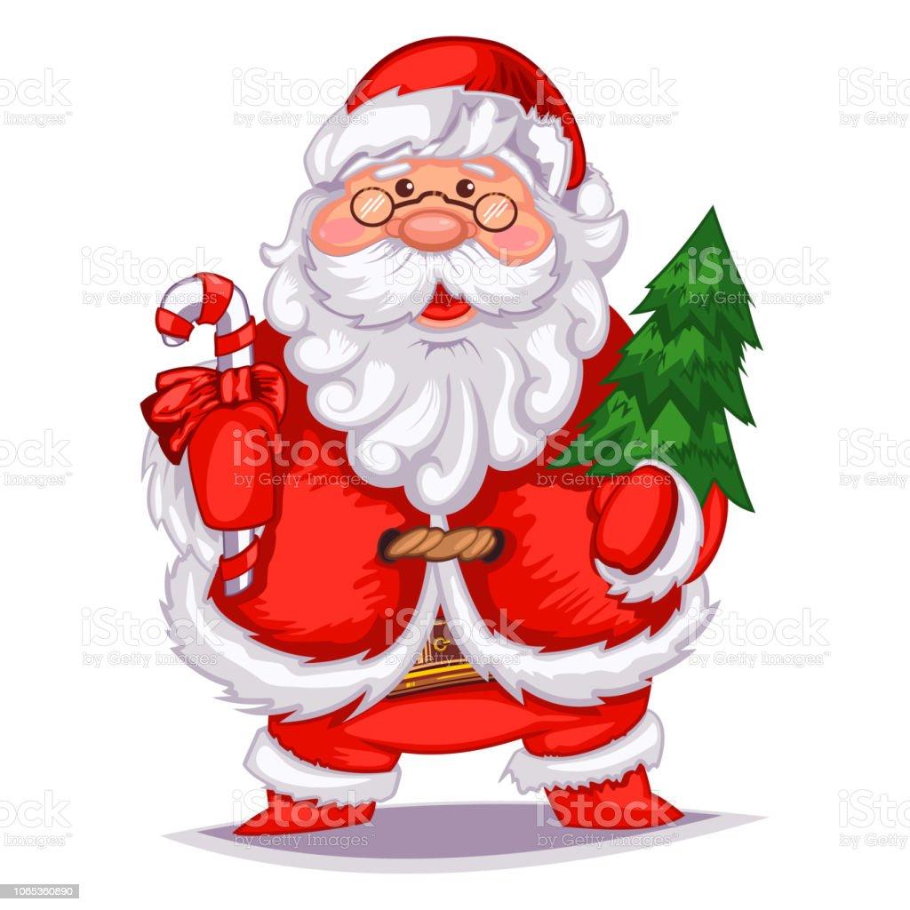 Imagenes De Papa Noel Animado.Ilustracion De Dibujos Animados Lindo Papa Noel Con Arbol De