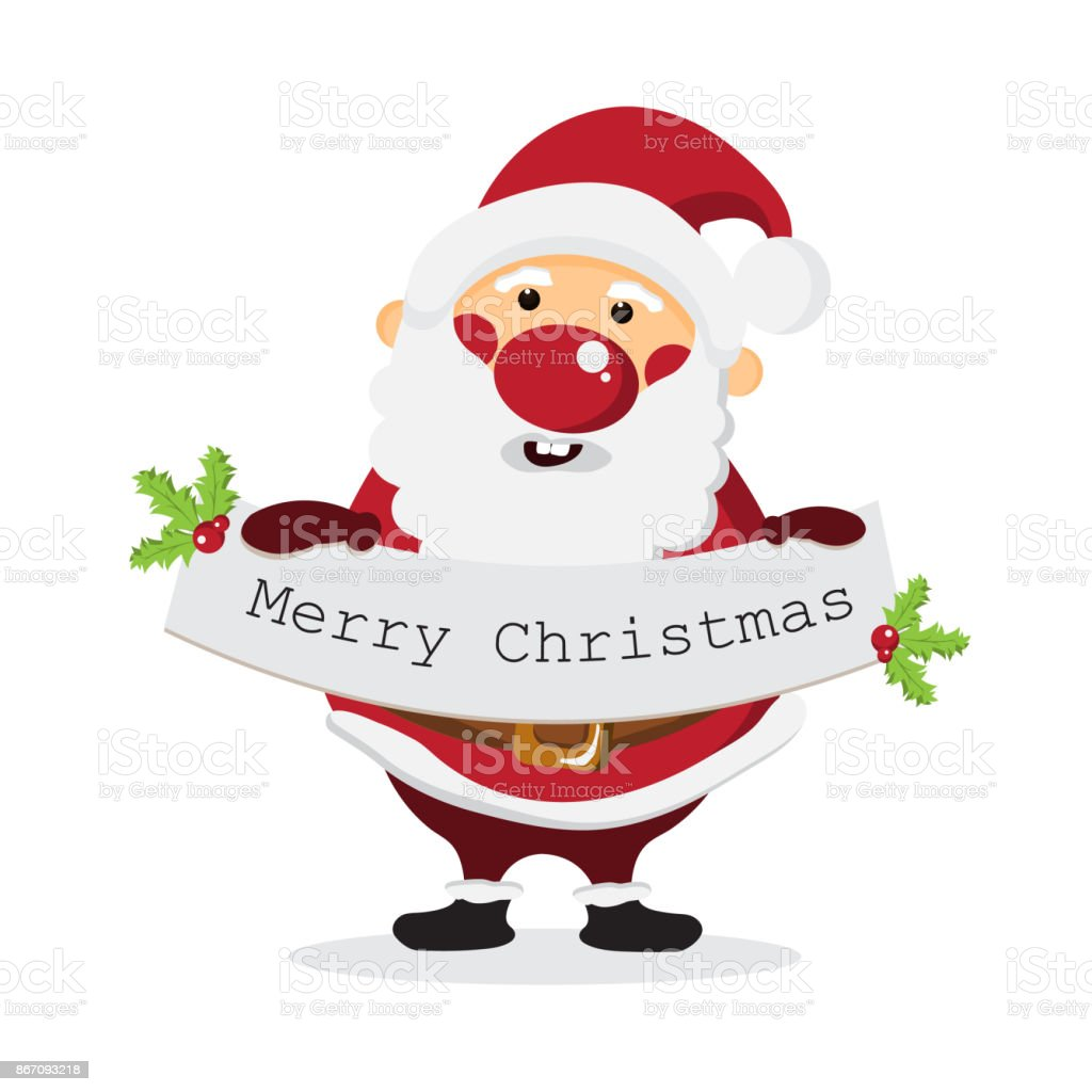 Cute Cartoon Santa Claus With Merry Christmas Message On White ...