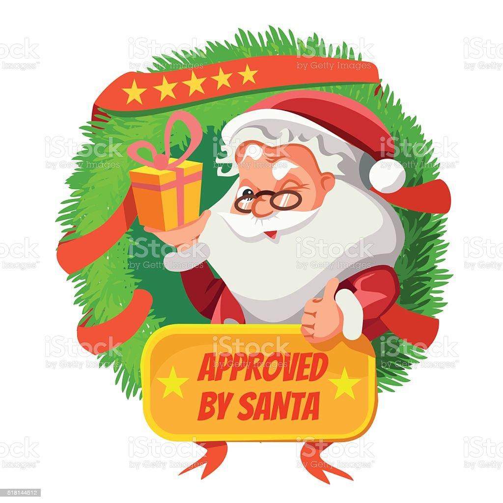 Cute Cartoon Santa Inside Of Christmas Wreath Holding A Gift Stock