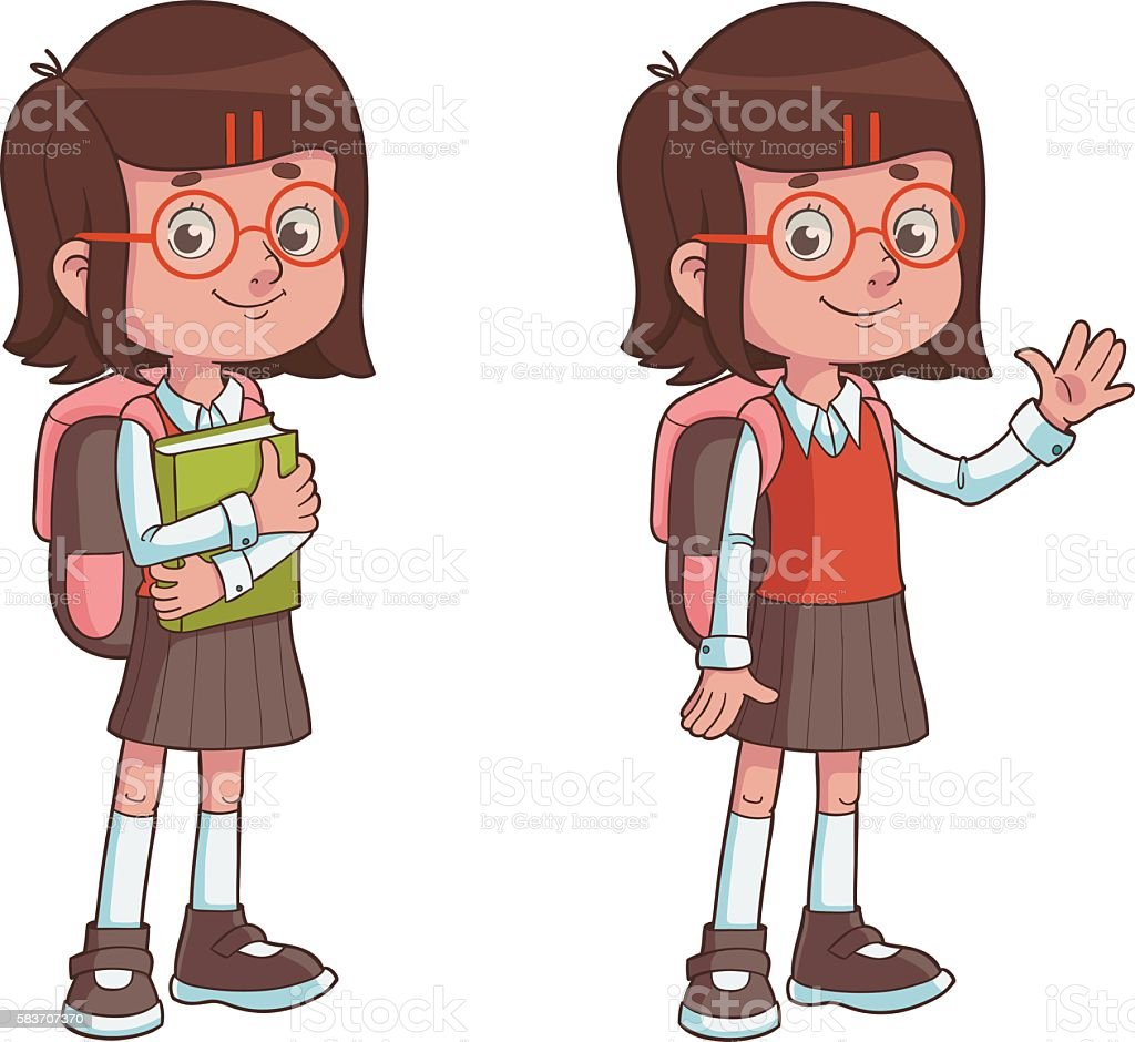 Cute Cartoon Schoolgirl with Backpack vector art illustration