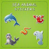 Illustration of cute cartoon sea animals on sticker