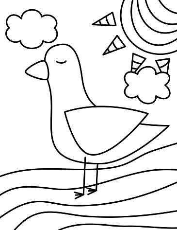cute cartoon seagull, sun, clouds black and white vector illustration for coloring art