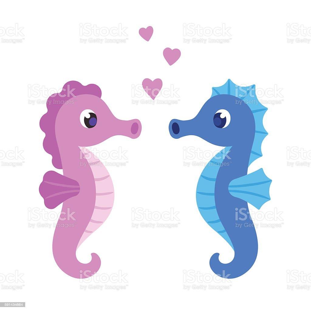 Cute Cartoon Seahorse Couple Stock Illustration Download Image Now Istock