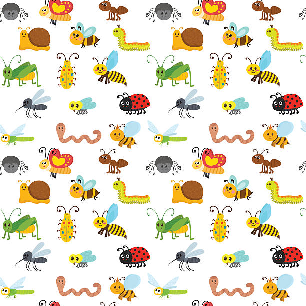 cute cartoon seamless pattern with insects. funny background - 昆虫点のイラスト素材/クリップアート素材/マンガ素材/アイコン素材