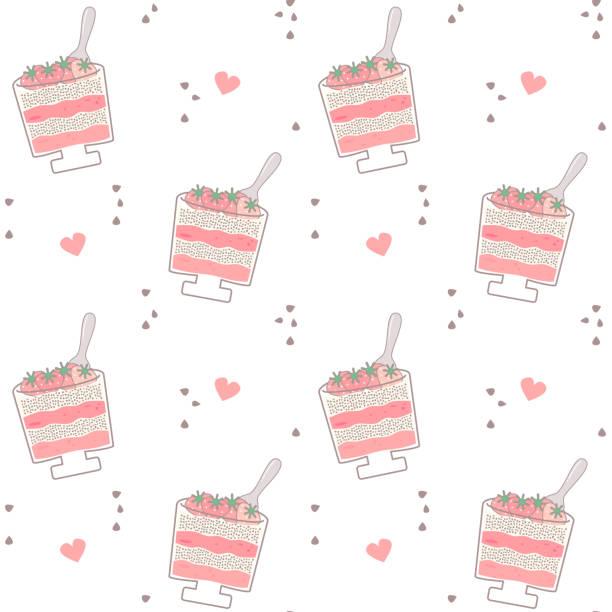 illustrations, cliparts, dessins animés et icônes de illustration de fond de dessin animé mignon de vecteur sans soudure de modèle avec la recette de nourriture de pudding de lait sain de fraise - pudding au lait roses