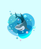 Cute smiling shark. Kind cartoon character swimming through waves. Modern gradient vector illustration. For print, poster, sticker, label, greeting card, design