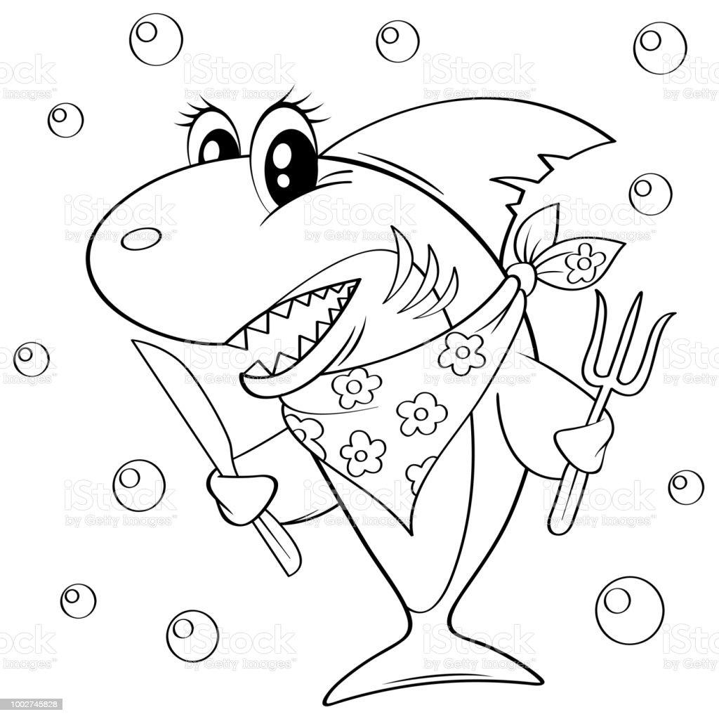 Ilustración De Tiburón De Dibujos Animados Lindo Con Tenedor