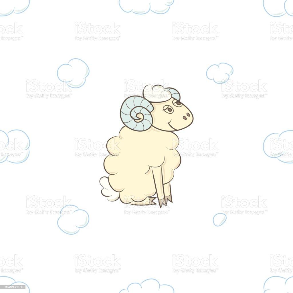Ilustración de Muchacho De Ovejas De Dibujos Animados En Las Nubes y ...