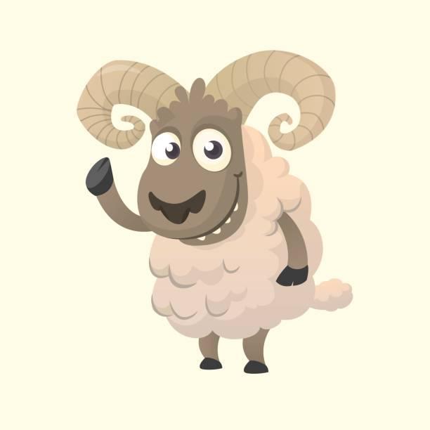 Personnage de dessin animé mignon mouton mascotte. Illustration vectorielle de mouton duveteux, agitant la main. Isolé sur blanc - Illustration vectorielle