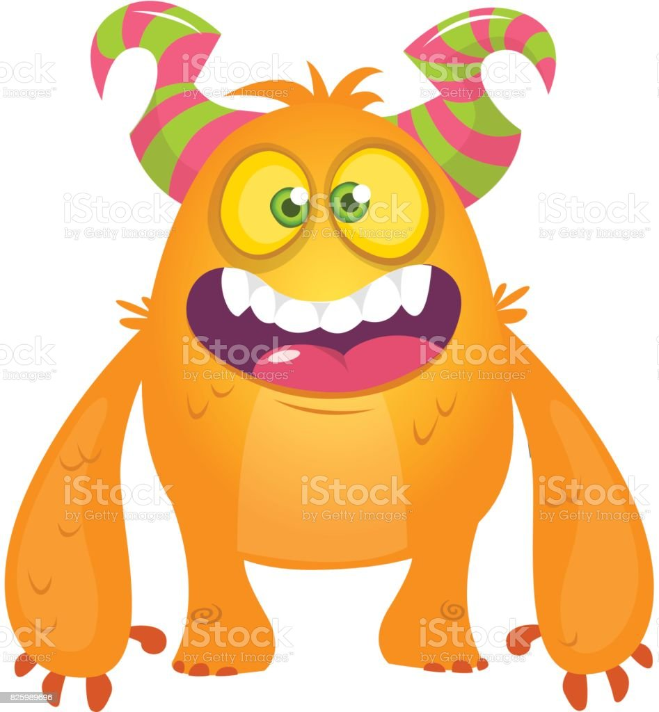 cute cartoon silly orange horned monster vector bigfoot character rh istockphoto com