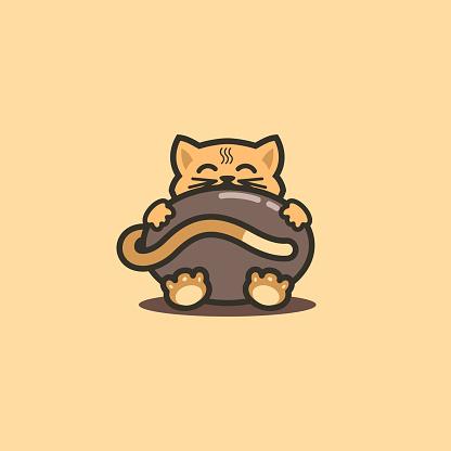 Cute Cartoon Sitting Cat Chocolate Mascot Logo Branding