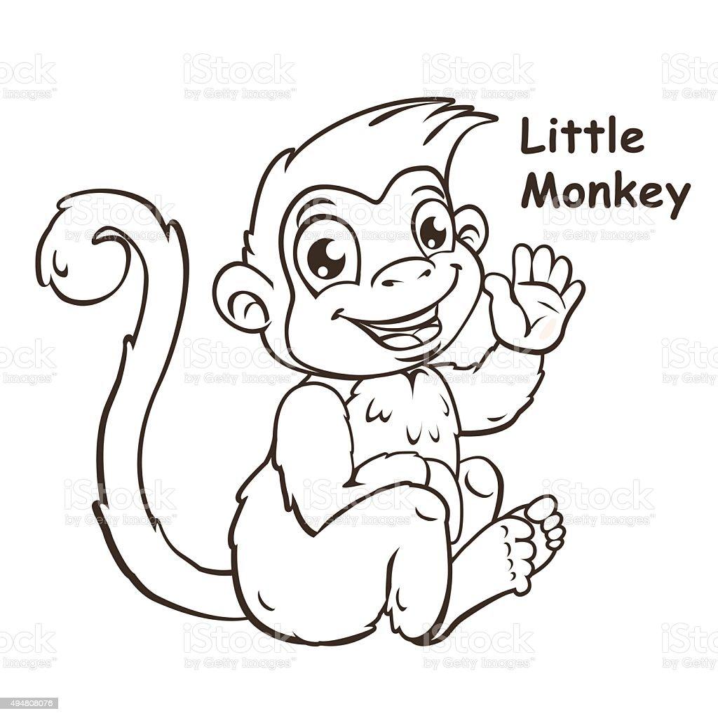 Ilustración de Adorables Dibujos Animados Mono De Estar Pequeña y ...