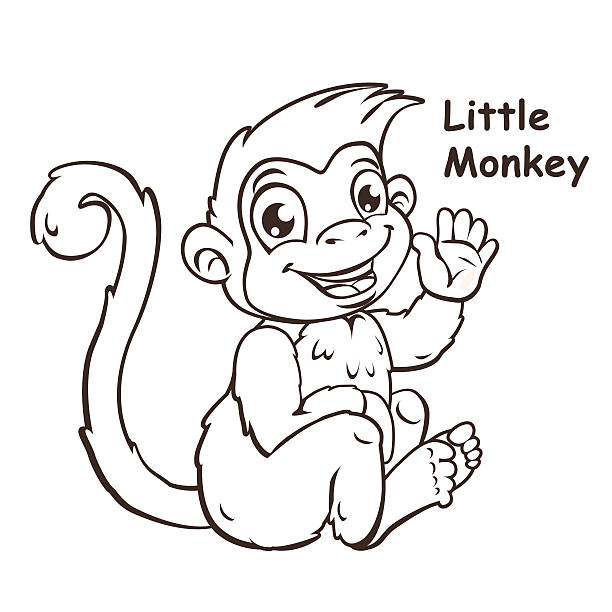 Small Black And White Monkey Cartoon Clip Art Vector Images Illustrations
