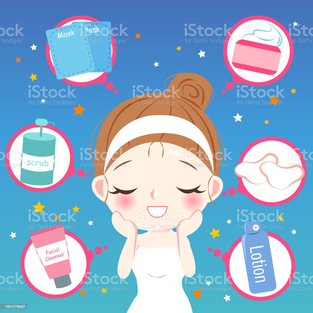 Cute Cartoon Skin Care Woma Stock Illustration Download Image Now Istock