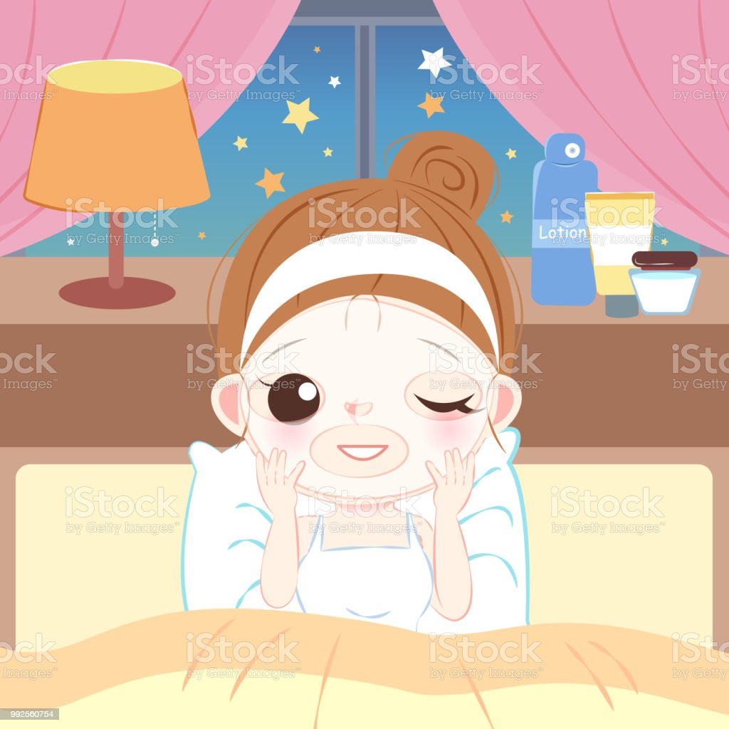 Cute Cartoon Skin Care Woman Stock Illustration Download Image Now Istock